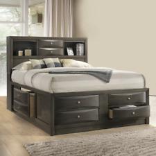 New Sleek Modern Gray 8-Drawer Storage Queen King Platform Bed Furniture