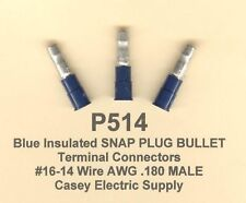 25 Blue Insulated SNAP PLUG Bullet Terminal Connector 16-14 Wire Gauge .180 MALE
