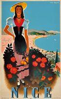 Nice France  art Vintage Illustrated Travel Poster Print   Framed Canvas