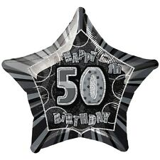"20"" Happy 50th Birthday Black Sparkle Star Foil Balloon"
