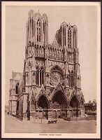 Vintage Cathedral Rheims France Gothic Architecture Photo Photogravure Print