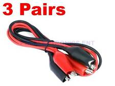 3 Pairs Dual Red & Black Test Leads with Alligator Clips Jumper Cable 16GA Wire