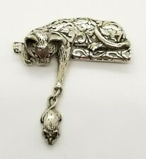 & Dangle Mouse Brooch Htf Signed Jezlaine Mid Century Sterling Silver Cat