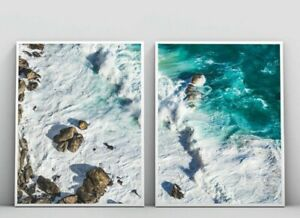 Set of 2 Coastal Beach & Ocean Waves Wall Art Print. Relaxing View. Large sizes