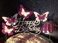 Cerise & Light Pink SWIRLY Birthday Cake Decoration Topper fuschia hot pink baby