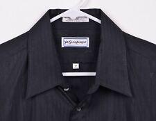 Vtg 80s Yves Saint Laurent YSL Men's Sz 17 34/35 Logo Stitch Black Dress Shirt