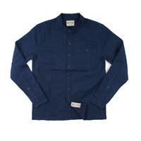 OKONKWO AMEKAJI Vintage Collarless Shirt Solid Twill Shirt Men's WorkShirt