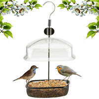 Height Adjustable Hanging Wild Bird Feeder Station Baffle Dome Peanut Seed Feed