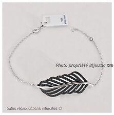 Bracelet  Pendentif Feuilles Zirconium Noir Argent Massif 925/1000  Bijoux Femme