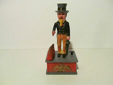 Vintage Uncle Sam Mechanical Coin Bank Works Design Plastic Hong Kong 1970s