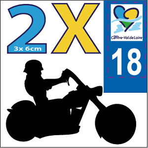 2 stickers autocollants style plaque immatriculation moto Département VDL 18