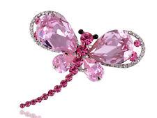 Princess Rose Pink Dragonfly Fat Wings Crystal Rhinestone Pin Brooch VTG