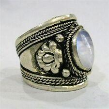 Large Adjustable Tibetan Big Round Rainbow Moonstone Gemstone Dorje Amulet Ring