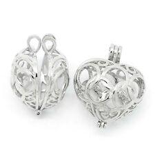 3PCs Charm Silver Pendants Hollow Heart Bead Cages