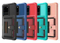 Shockproof Flexible Card Pocket Leather Back Case Cover For Samsung Galaxy Phone