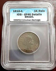 Brazil 1000 Reis1913 ACG - EF40 .900 Silver Coin