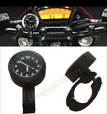Motorcycle Black Universal 7/8''-1'' Cruiser Handle Bar Mount Clock Watch Set