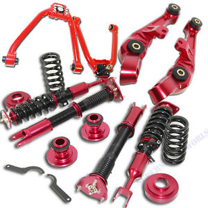RED Front Lower Control Arm+Upper Arm+Suspension Kit fit 03-07 Nissan 350Z Coupe
