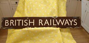 Stunning Vintage Enamel GWR Brown Cream Enamel Platform British Railways Sign