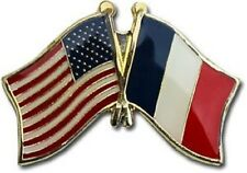 USA - FRANCE FRIENDSHIP CROSSED FLAGS LAPEL PIN - NEW - COUNTRY PIN