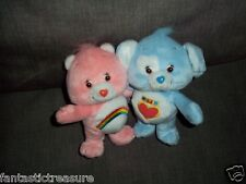 """Attached 2 Care Bears Plush Doll Figures """"Cheer Bear & Blue Loyal Heart Dog Toy"""