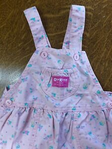 Vintage :: Oshkosh Vestbak Overalls size 3T :: Pink Flowers :: Made USA