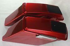 """Ember red sunglo 4"""" 1/2 Left side no cutout 6*9 speaker lid bag for Harley 93-13"""
