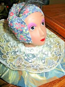 """1990's Ethnic Girl Doll Head/Neck Statue, Floral Wrap, Satin/Lace Accent, 3-1/2"""""""