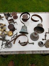More details for original vintage brass door bell shop butlers sprung - lovely patina