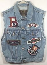 Size Small Vintage 90's B.U.M Equipment Blue Jean Denim Patch Work Vest Jacket