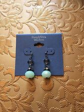 Simply Vera Vera Wang Silver Tone Mint Bead Faux Crystal Dangly Hook Earrings