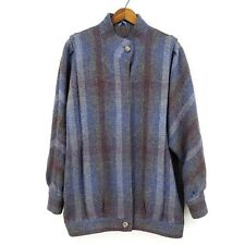 Avoca Collection Wool Coat Womens Medium Blue Ireland Jacket Button Up