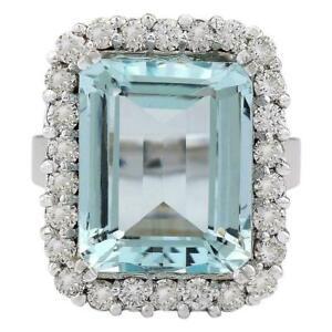 14K White Gold FN Emerald Cut 15.80 CT Aquamarine 925 Silver CZ Anniversary Ring