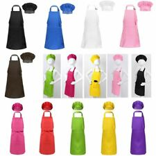 Boys Girls Apron Chef Hat Set Kids Kitchen Cooking Baking Painting Wear Costume