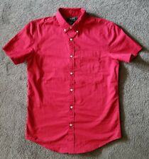 Forever 21 men red short sleeve button-up shirt size small