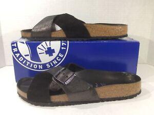 BIRKENSTOCK Women Siena Black Suede Slides Sandals Shoes Sz 9 EU41 N ZB6-1593