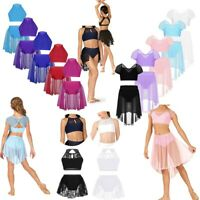 Girls Ballet Dance Dress Gymnastics Leotard Lyrical Costume Crop Top+Lace Skirt