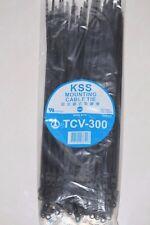 200 Mountable Cable Zip Ties 300mm + 205mm Mounting Nylon BLACK KSS