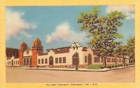 Indianapolis Indiana~Cadle Tabernacle~Partly Cloudy~1940s Dexter Linen Postcard