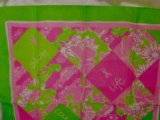 USA Lilly Pulitzer Ford Scarf Pink Green Cars Daisies Breast Cancer Awareness