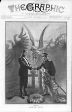 1905  Antique Print - RUSSO-JAPANESE WAR Peace Soldiers Sword Wreath Cross  (88)
