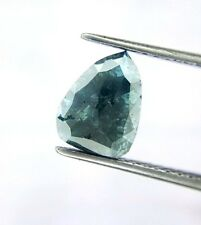 Big 1.24TCW Greenish Blue Pear Rose cut Natural Diamond for Valentine Ring