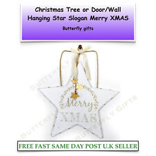Wooden Christmas Tree Decorations Shabby Chic Hanging Merry Xmas Gold Stars