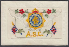 Army Service Corps / ASC Silk Postcard; Fine Used with insert
