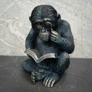 Studious Ape Monkey Statue Bronze Finish | Indoor + Garden Decoration Ornament