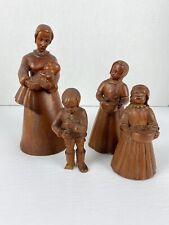 Elfriede Herse Wooden Figurines Set Of 4 Mother Children Baby Sculpture Lot 9.5�
