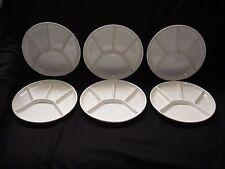 "6 Mid Century Fondue Divided Dinner Plates White Pottery BW USA 925 9 1/4"" Sushi"