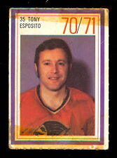 1970-71 ESSO POWER PLAYERS NHL #35 TONY ESPOSITO VG CHICAGO BLACK HAWKS STAMP