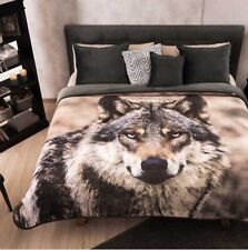 WOLF BLANKET WITH SHERPA VERY SOFTY THICK AND WARM KING SIZE