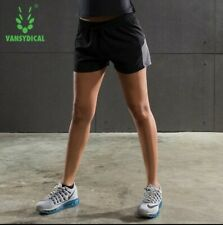 Vansydical Womens Running Shorts Fitness Yoga Sports Shorts Quick Dry size M